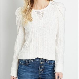 Maurices Solid Ribbed Lace Inset Puff Sleeve Top